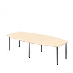 Konferenztisch mit 6 Rundrohrfüßen, chrom