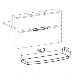Taschenablage gebogen für Empfangstheke, BxT 500x150 mm, weiß