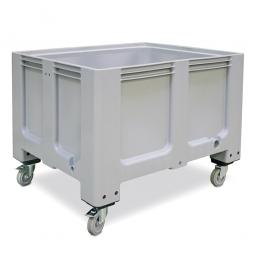 Großbox mit 4 Lenkrollen und 2 Feststellbremsen, grau, Boden u. Wände geschlossen, Inhalt 610 Liter,