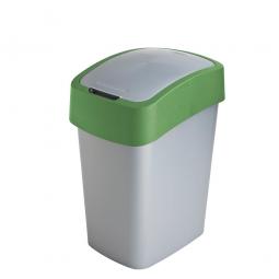 Abfallbehälter mit Schwing- oder Klappdeckel, PP, HxBxT 470x260x340 mm, Inhalt 25 Liter, silber/grün