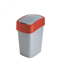 Abfallbehälter mit Schwing- oder Klappdeckel, PP, HxBxT 350x189x235 mm, Inhalt 10 Liter, silber/rot