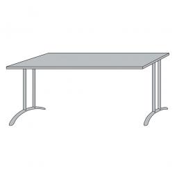 Schreibtisch mit Bogenformgestell, weißaluminium