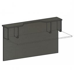 Vorwandelement mit Monitorausschnitt u. Fachseite, BxH 1800x1025 mm, gerade, graphit