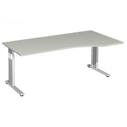 PC-Schreibtisch ELEGANCE rechts, höhenverstellbar, Dekor Lichtgrau, Gestell Silber, BxTxH 1800x1000x680-820 mm