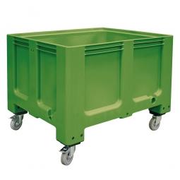 Großbox mit 4 Lenkrollen und 2 Feststellbremsen, grün, Boden u. Wände geschlossen, Inhalt 610 Liter,