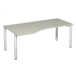 PC-Tisch, links Komfort, Gestell silber, Dekor lichtgrau, BxTxH 1800x1000x720 mm