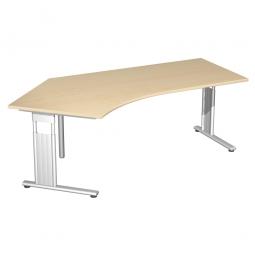 Schreibtisch ELEGANCE 135° links, höhenverstellbar, Dekor Ahorn, Gestell Silber, BxTxH 2166x1130x680-820 mm
