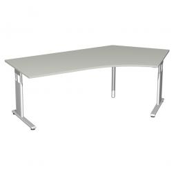 Schreibtisch ELEGANCE 135° rechts, feste Höhe, Dekor Lichtgrau, Gestell Silber, BxTxH 2166x800/1130x720 mm