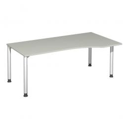 PC-Tisch, rechts Komfort, Gestell silber, Dekor lichtgrau, BxTxH 1800x1000x720 mm