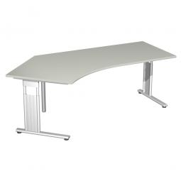 Schreibtisch ELEGANCE 135° links, höhenverstellbar, Dekor Lichtgrau, Gestell Silber, BxTxH 2166x1130x680-820 mm