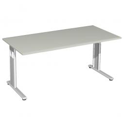 Schreibtisch ELEGANCE feste Höhe, Dekor Lichtgrau, Gestell Silber, BxTxH 1600x800x720 mm