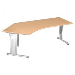 Schreibtisch ELEGANCE 135° links, höhenverstellbar, Dekor Buche, Gestell Silber,BxTxH 2166x1130x680-820 mm