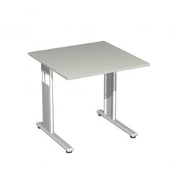 Schreibtisch ELEGANCE feste Höhe, Dekor Lichtgrau, Gestell Silber, BxTxH 800x800x720 mm