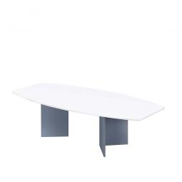 Konferenztisch mit Holzfußgestell, silber