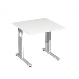 Schreibtisch ELEGANCE feste Höhe, Dekor Weiß, Gestell Silber, BxTxH 800x800x720 mm