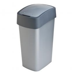 Abfallbehälter mit Schwing- oder Klappdeckel, PP, BxTxH 376 x 294 x 653 mm, Inhalt 50 Liter, silber/anthrazit