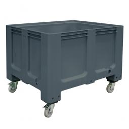 Großbox mit 4 Lenkrollen und 2 Feststellbremsen, anthrazit, Boden u. Wände geschlossen, Inhalt 610 Liter,