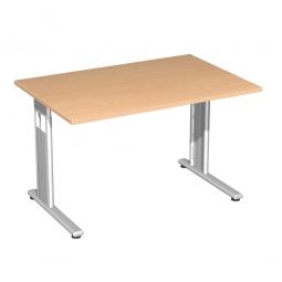 Schreibtisch ELEGANCE feste Höhe, Dekor Buche, Gestell Silber, BxTxH 1200x800x720 mm