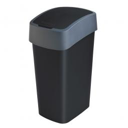 Abfallbehälter mit Schwing- oder Klappdeckel, PP, BxTxH 376 x 294 x 653 mm, Inhalt 50 Liter, schwarz/anthrazit