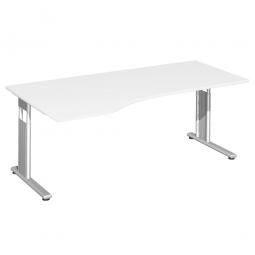 PC-Schreibtisch ELEGANCE links, höhenverstellbar, Dekor Weiß, Gestell Silber, BxTxH 1800x1000x680-820 mm