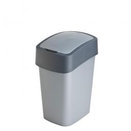 Abfallbehälter mit Schwing- oder Klappdeckel, PP, HxBxT 350 x 189 x 235 mm, Inhalt 10 Liter, silber/grau