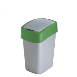 Abfallbehälter mit Schwing- oder Klappdeckel, PP, HxBxT 350x189x235 mm, Inhalt 10 Liter, silber/grün