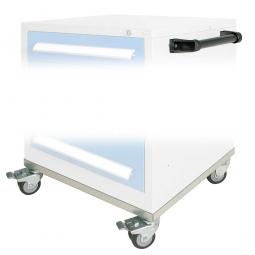 Fahrgestell und Griff für Schubladenschrank, 4 Gummi-Doppellenkrollen Ø 75 mm, 2 feststellbar