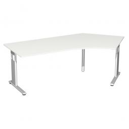 Schreibtisch ELEGANCE 135° rechts, feste Höhe, Dekor Weiß, Gestell Silber, BxTxH 2166x800/1130x720 mm