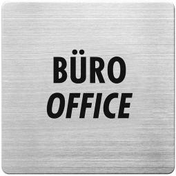 """Hinweisschild """"Büro"""", Edelstahl, HxBxT 90x90x1 mm"""