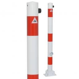 Absperrpfosten, sichtbare Höhe 900 mm, Rundrohr-Ø 60 mm, umklappbar Ausführung, mit Bodenplatte