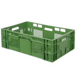 Eurobehälter, durchbrochen, PE-HD, LxBxH 600 x 400 x 200 mm, 38 Liter, grün