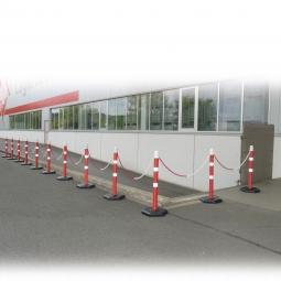 Kettenständer-Set mit 12 Ketten-Warnständern, 1000 mm hoch, 22 m Kette, Kunststoff-Fuß betongefüllt
