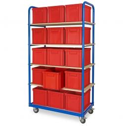 Kommissionierwagen mit 5 Ebenen und 15 Behältern in Farbe rot