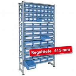 Fachbodensteck-Grundregal, BxTxH 1000 x 415 x 2000 mm, 13 Böden, mit 64 Regalkästen, 3 Größen gemischt, Farbe hellblau