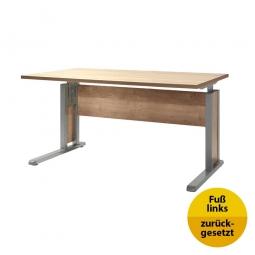 Verkettungs-Schreibtisch, Gestell silber, Platte Wildeiche, BxTxH 1200x800x680-820 mm