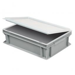 Scharnierdeckel für Euro-Stapelbehälter, LxB 400x300 mm, weiß, Gewicht 450 g