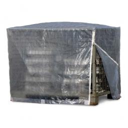 Abdeckhaube für Gitterbox, 2 Reißverschlüsse, transparent, LxBxH 1250 x 850 x 980 mm, Materialstärke 120 g/qm