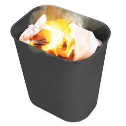 Feuerfester Abfallkorb, 13 Liter, schwarz, BxTxH 280x210x310 mm, Fiberglas, feuerfest