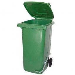 Müllbehälter, 120 Liter, grün, mit Fußpedal, HxBxT 930x480x550 mm, Niederdruck-Polyethylen (PE-HD)