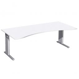 Schreibtisch PREMIUM höhenverstellbar, Weiß/Silber, BxTxH 2000x800/1000x680-820 mm