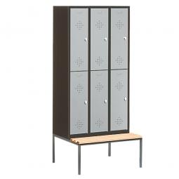 Stahl-Fächerschrank mit untergebaute Sitzbank und Drehriegelverschluss, 6 Fächer, HxBxT 2090 x 900 x 500/815 mm