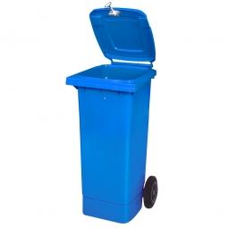 Müllbehälter mit Dreikantschlüssel verschließbar, BxTxH 445x520x930 mm, 80 Liter, blau