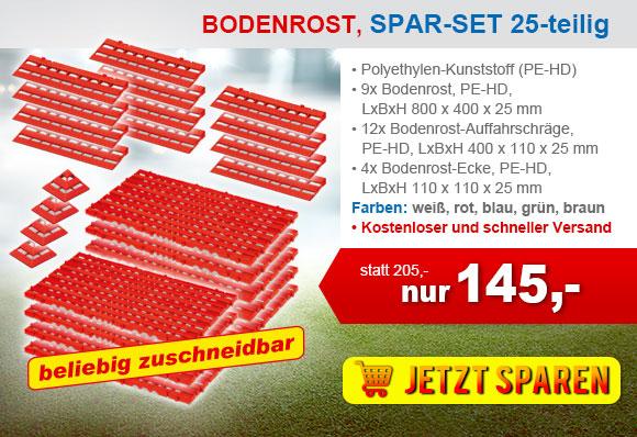 LxBxH 800 x 400 x 25 mm 4x Bodenrost aus Kunststoff PE-HD Farbe rot