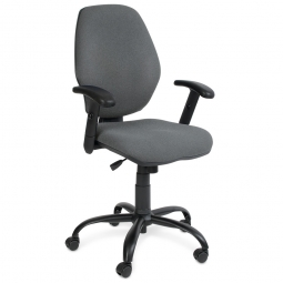 "Bürodrehstuhl ""Perfekt"" + Armlehnen,  Farbe grau, Synchronmechanik, extra hohe Rückenlehne 520 mm"