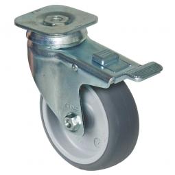 Lenkrolle mit Feststellbremse für Transportroller, Rad-ØxB 100x32 mm, Rad: hellgrau, Stahlblechrollengehäuse