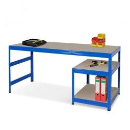 Arbeitstisch mit Unterbau BxTxH 1800 x 600 x 900 mm, Unterbau mit 2 Spanplattenböden BxTxH 600 x 600 x 515 mm