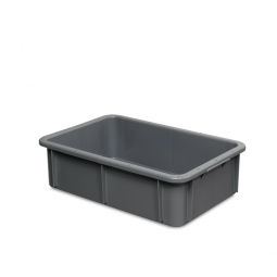 Euro-Schwerlastbehälter, LxBxH 600x400x165 mm, grau, Boden und Wände geschlossen, Inhalt 30 Liter