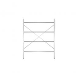 Aluminiumregal mit 4 geschlossenen Regalböden, Stecksystem, BxTxH 1400 x 500 x 1800 mm, Nutztiefe 440 mm