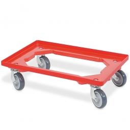Transportroller für 600 x 400 mm Eurobehälter, 4 Lenkrollen, graue Gummiräder, rot