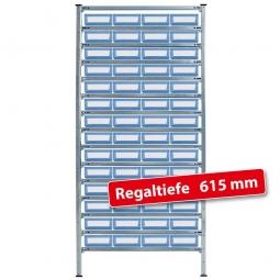 Fachbodensteck-Grundregal mit Regalkästen, HxBxT 2000x1070x615 mm
